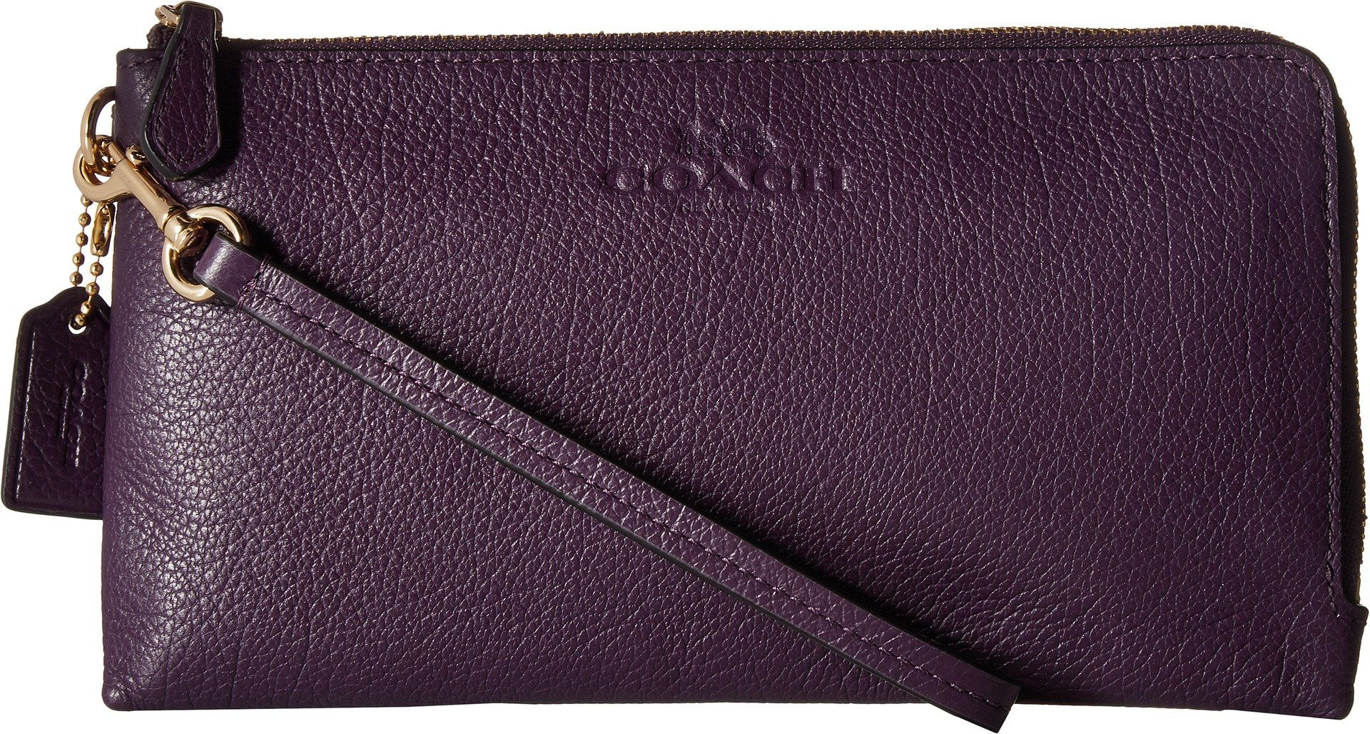 COACH Women's Pebbled Leather Double Zip Wallet Im/Aubergine One Size