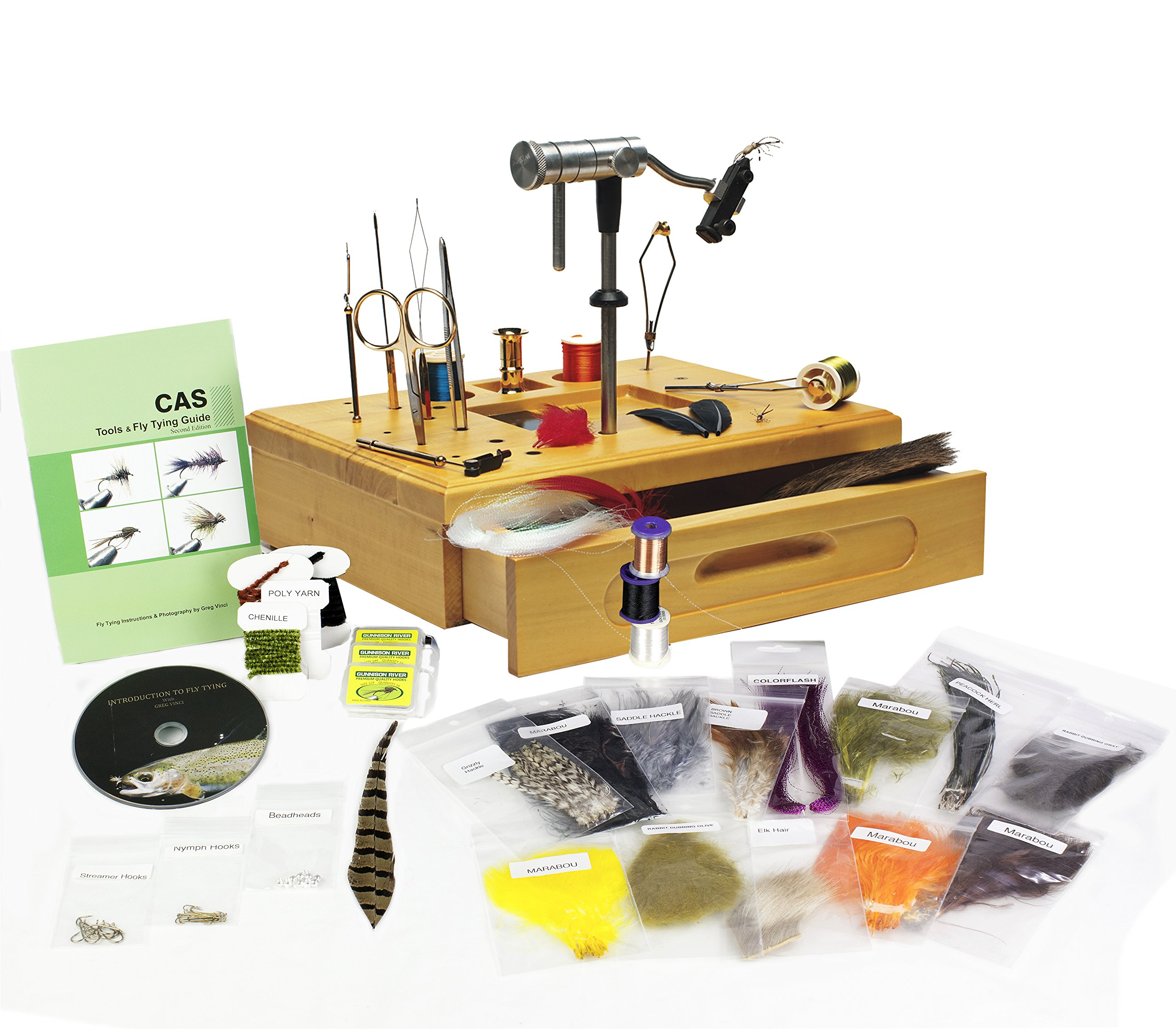 Creative Angler Wooden Fly Tying Station with Tools and Materials by Creative Angler
