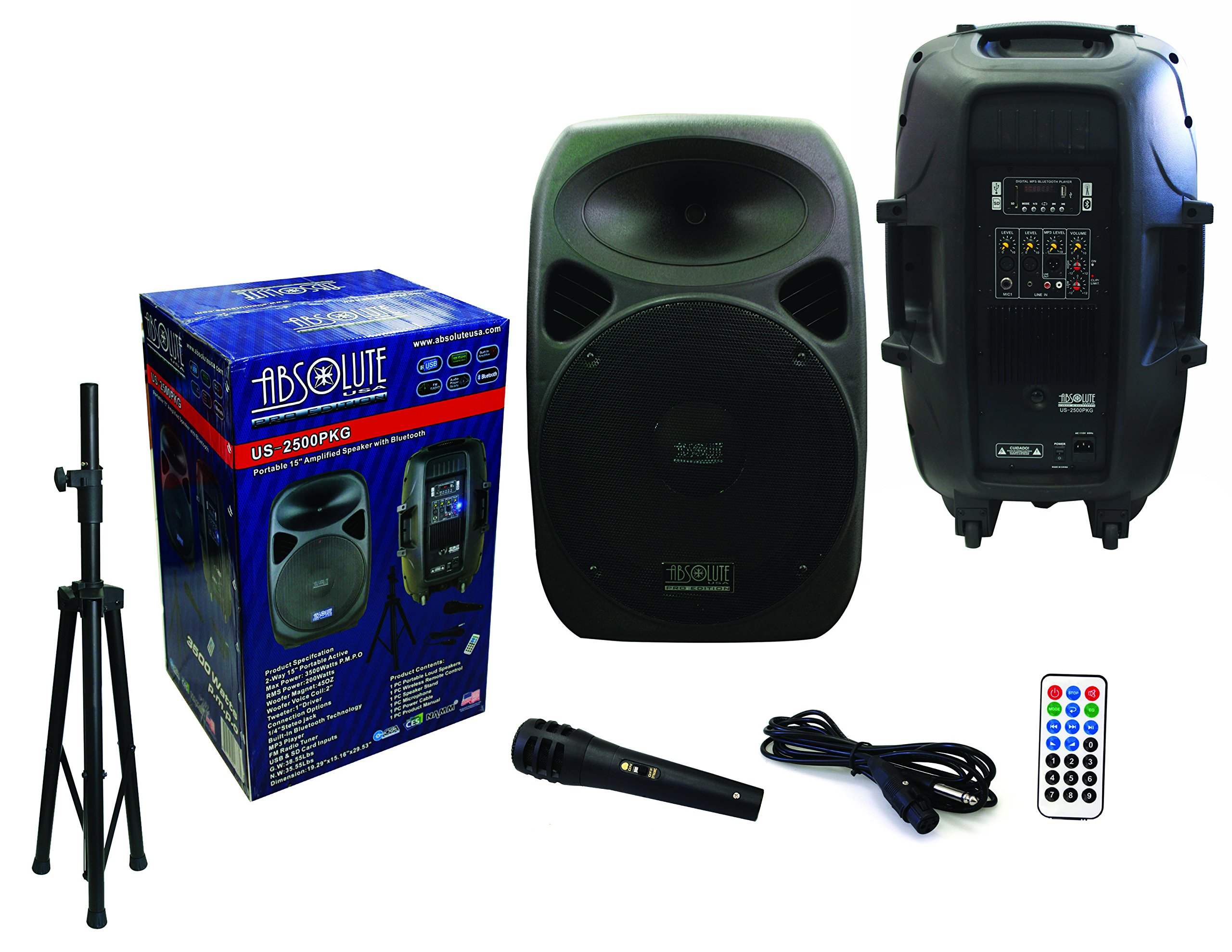 Absolute USA US2500 2-Way 15'' 3500W Speaker Built-In Bluetooth with Wire Microphone & Speaker Stand