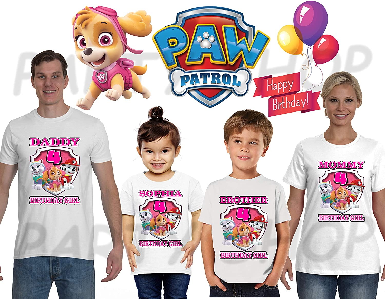 Paw Patrol Girls BIRTHDAY SHIRT T SHIRTS PAW PATROL Birthday PartyADD Any Name And Age FAMILY Matching ShirtsGirls ShirtsPaw
