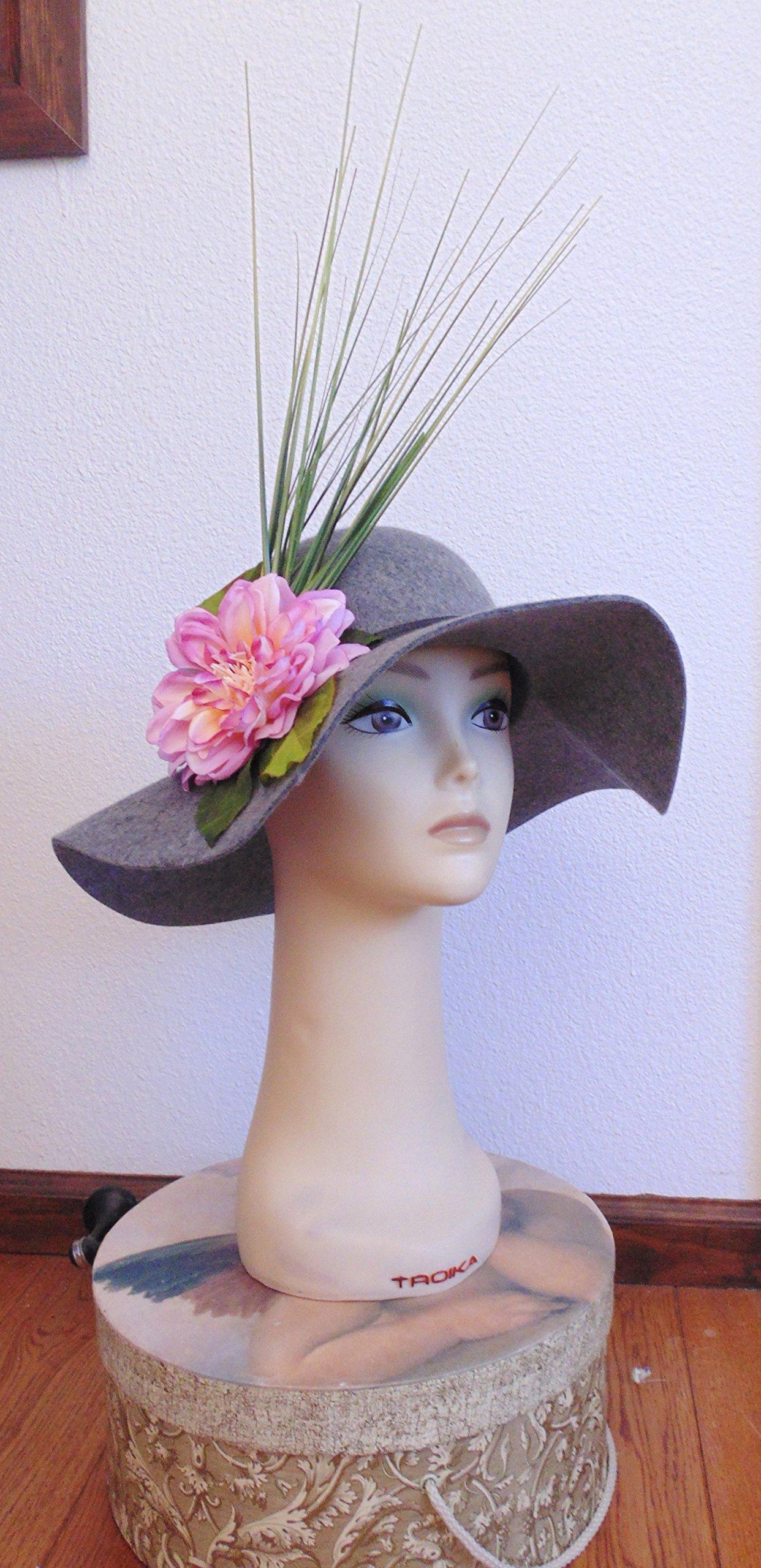 Grey Wool Felt Hat with Pink Flower Derby Hat