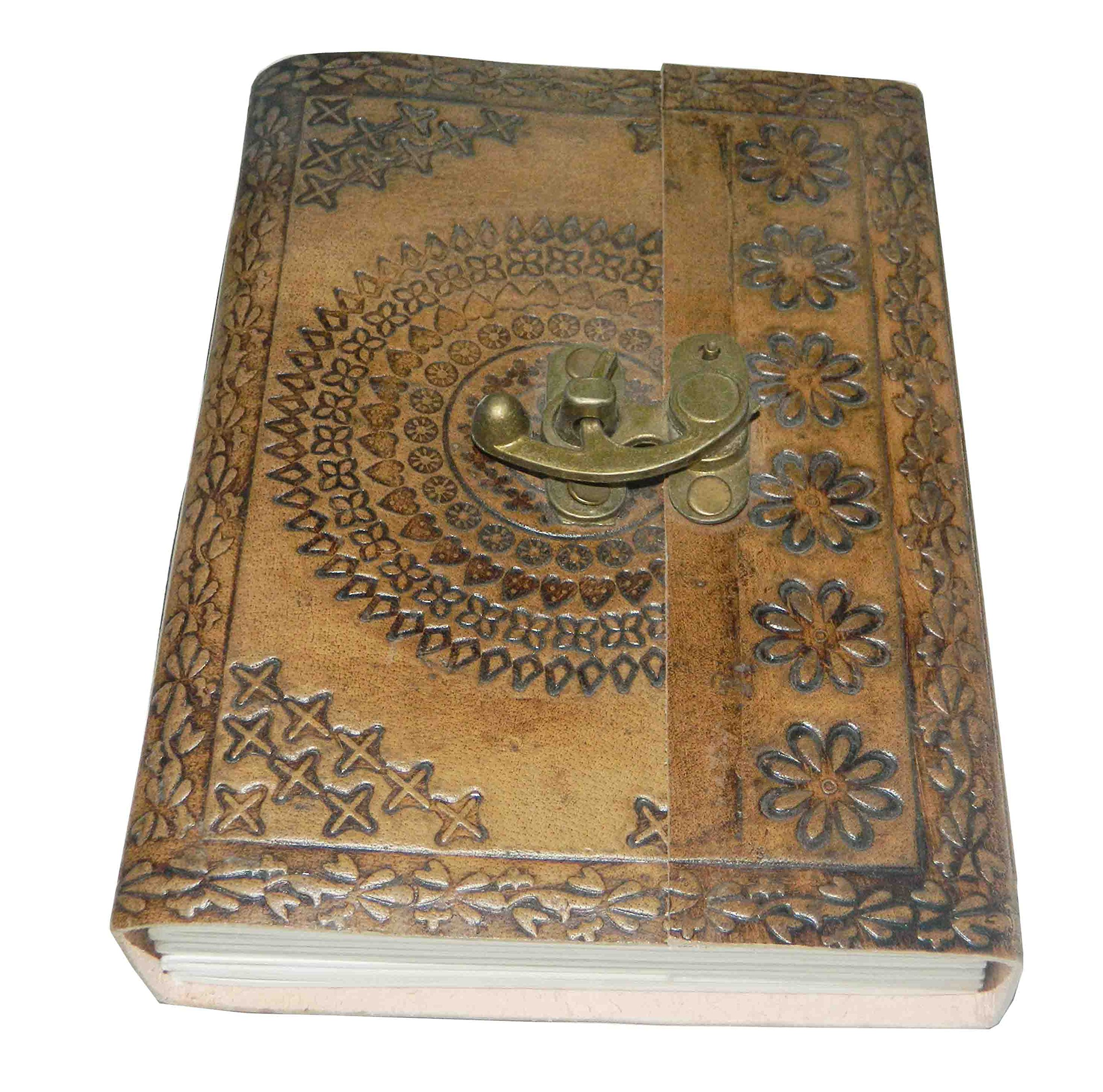 M&N Handmade Tanned Leather Journal, Notebook, Blank Pages, Metal Clasp, 7''x5''