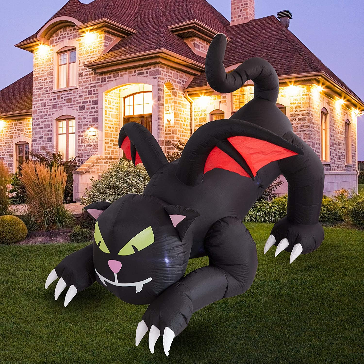 Giant Lawn Decorations for Home Yard Lawn Garden Party Decor Animated Halloween Blow Up Yard Prop Twinkle Star 6ft Halloween Decorations Inflatable Outdoor Lighted Black Cat with Wings