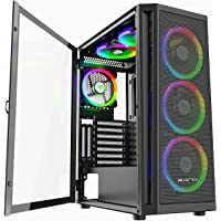 MUSETEX 6pcs 120mm ARGB Fans and 2pcs USB 3.0 Mesh Mid-Tower ATX Gaming PC Case, Opening Tempered Glass Panels Gaming…