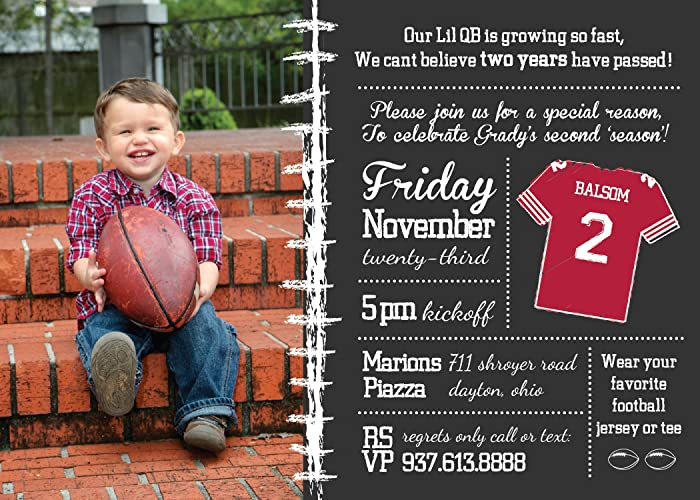 Image Unavailable Not Available For Color Football Birthday Party Invitation Printable Chalkboard