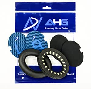 Replacement ear cushions for Bose QuietComfort 2 (QC2) and QuietComfort 15 (QC15) headphones Around-Ear 2 (AE2), Around-Ear 2 wireless (AE2w), SoundTrue Around-Ear (AE), SoundTrue Around-Ear 2 (AE2) and SoundLink Around-Ear 1 and 2 headphones (AE2/SoundTrue AE/SoundLink AE, Black) (Not Compatible with Bose Around-Ear 1 (AE) and Triport 1 (TP1/TP1A) Headphones) (QC2/15/AE2 Ear Pads, Black and Blue Scrims)