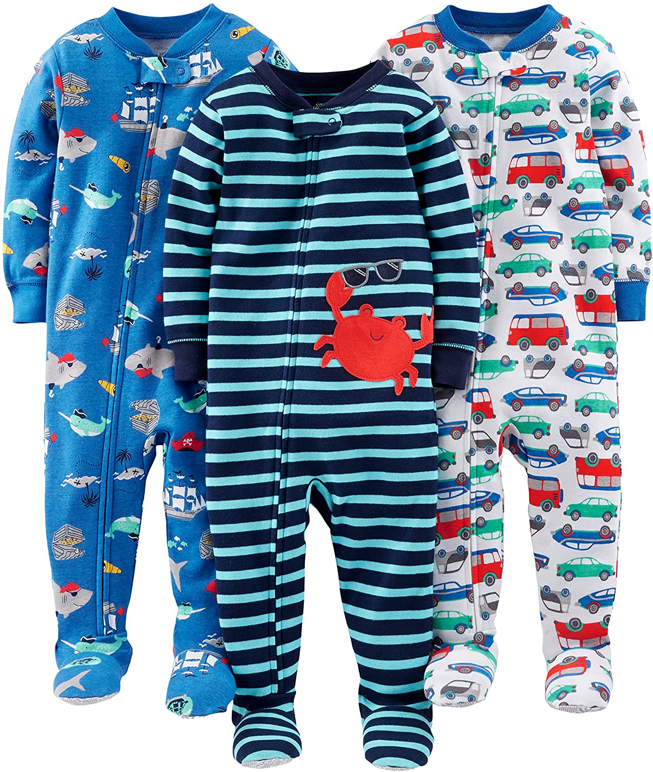 Simple Joys by Carter's Boys' 3-Pack Snug Fit Footed Cotton Pajamas: Clothing