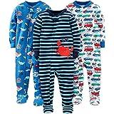 Simple Joys by Carter's Baby Pijamas de algodón con pies de Ajuste cómodo, diseño de Cangrejo/Criaturas Marinas y Autos, 4T