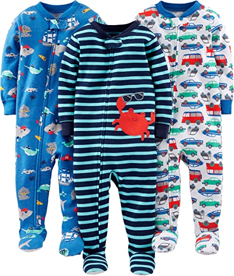 Simple Joys By Carter/'s Baby Boy/'s 3-Pk Jumpsuits Dino//Green Stripe//Gray