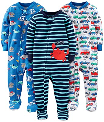 f49a5eb3a Simple Joys by Carter's Baby Boys' 3-Pack Snug Fit Footed Cotton Pajamas,