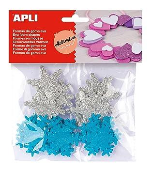 APLI - Bolsa formas EVA adhesiva purpurina formas copo nieve, 22 uds: Amazon.es: Oficina y papelería