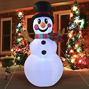 Joiedomi Christmas Inflatable Decoration 6 FT Snowman Inflatable V2 with Build-in LEDs Blow Up Inflatables for Xmas Party Indoor, Outdoor, Yard, Garden, Lawn Winter Decor.