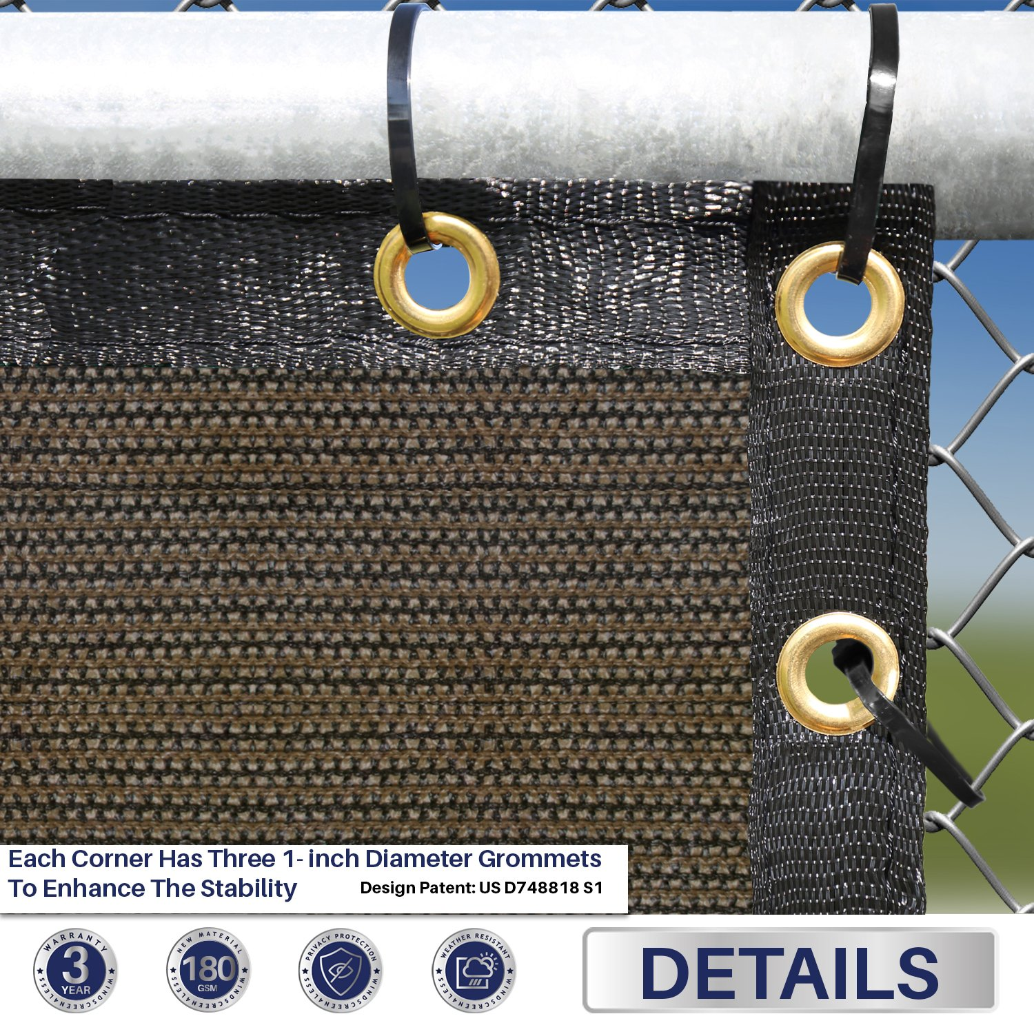 Windscreen4less Fence Privacy Screen 2 x 16 , Brown, Pergola Shade Cover Patio Canopy Sun Block,180 GSM, 95 Privacy Blockage, Mesh Fabric with Brass Gromment, Customized