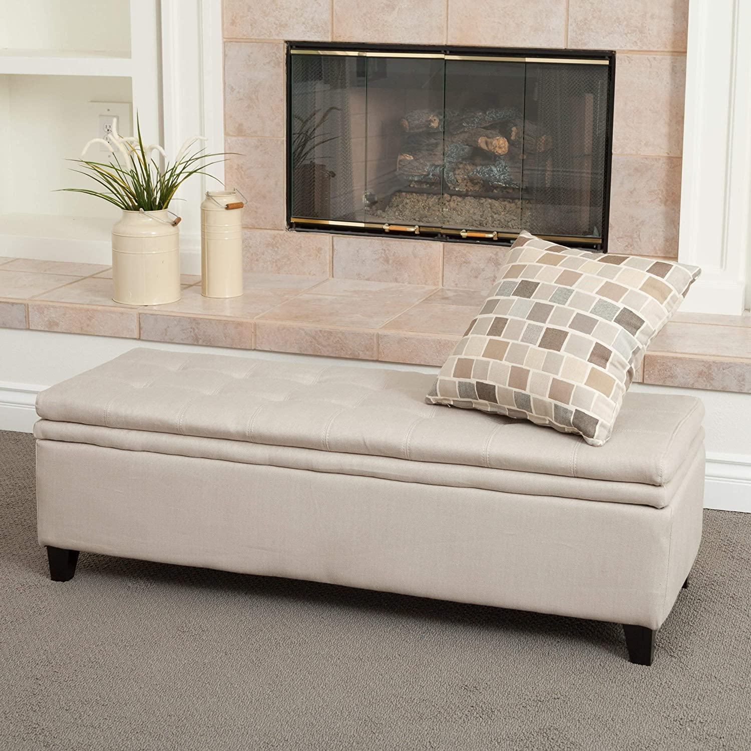 Christopher Knight Home 258245 Living Sandford Fabric Upholstered Storage Ottoman Bench w Tufted Top, Sand