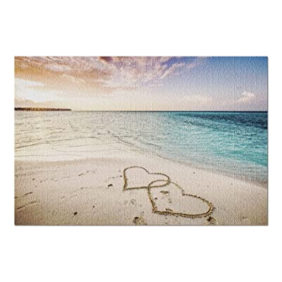 Two Hearts Drawn on a Sandy Beach by The Sea at Sunset 9017618 (Premium 1000 Piece Jigsaw Puzzle for Adults, 20x30, Made in USA!): Toys & Games