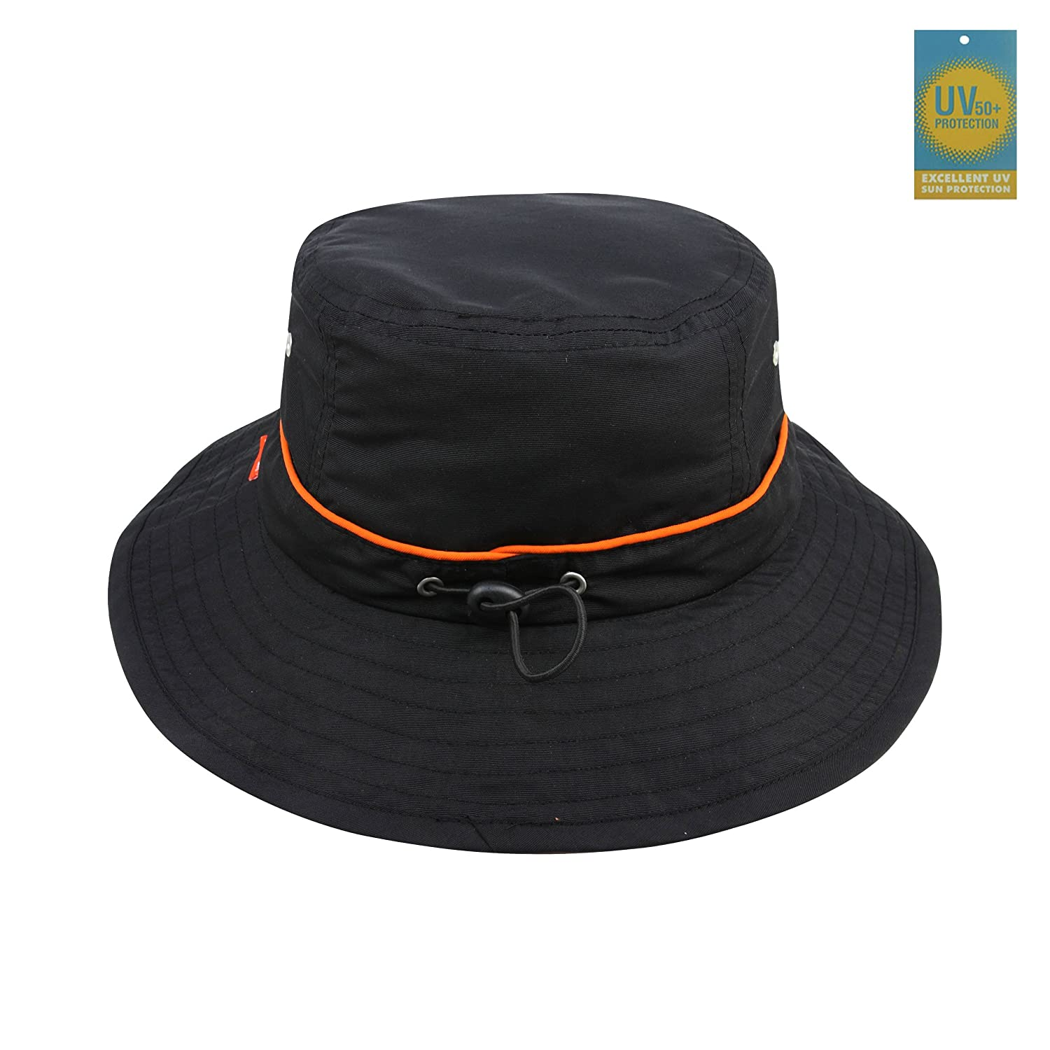 Juniper Taslon UV Bucket Cap with Orange Piping