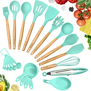 KuchePro 12-Piece Silicone Kitchen Utensil Set - Premium Natural Beech Wooden Handles with Non-Stick Silicone Heat Resistant Cookware for Cooking and Baking Tools - Green