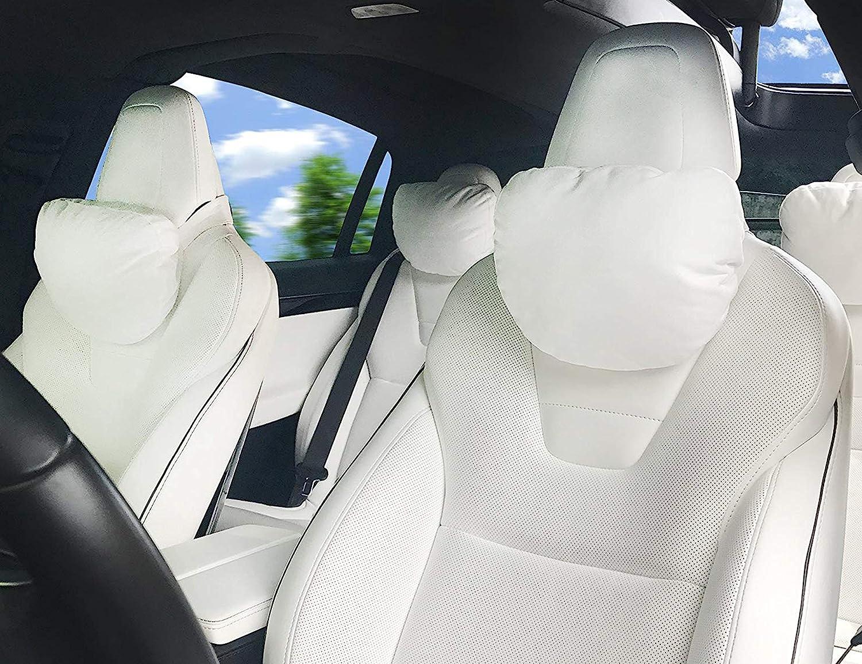 Topfit Bo/îte de voiture appui-t/ête Coussin de si/ège support de cou T/ête Soulagement de la douleur doux oreillers pour Model S//X//3