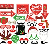 Grapits Christmas Photo Booth Props Party Mask (Multicolor, Pack of 31)