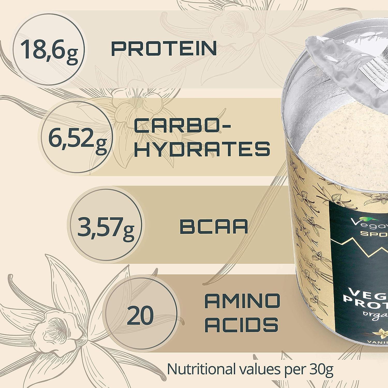 Proteína Vegana Aislada BIO Vegavero® | Guisante + Arroz | Sin Soja - Sin Gluten | Suplemento Masa Muscular + Pre o Post Workout | 500 g Sabor Vainilla ...