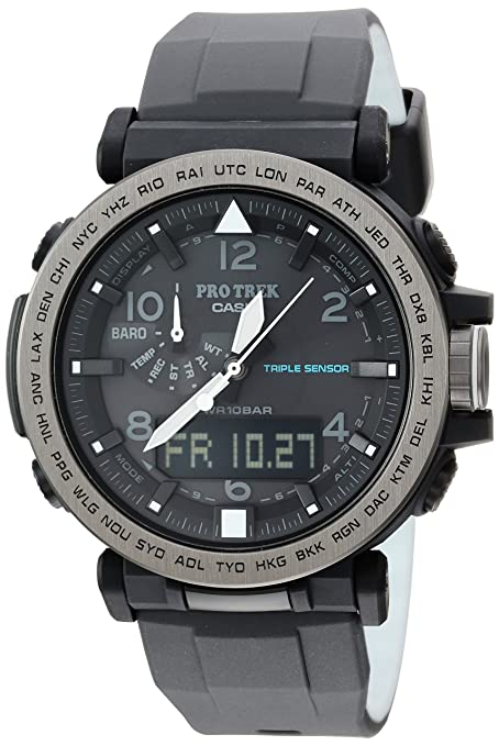 Casio Mens PRO TREK Solar Powered Silicone Watch, Color:Black (Model: PRG-650Y-1CR)