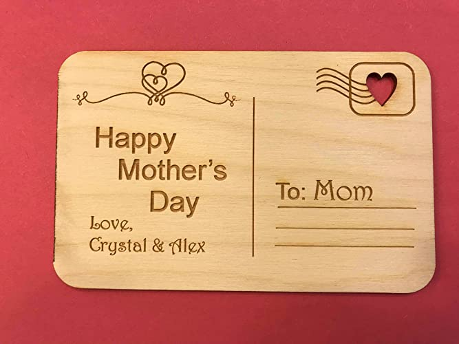 amazon com personalized mother s day postcard wooden postcard
