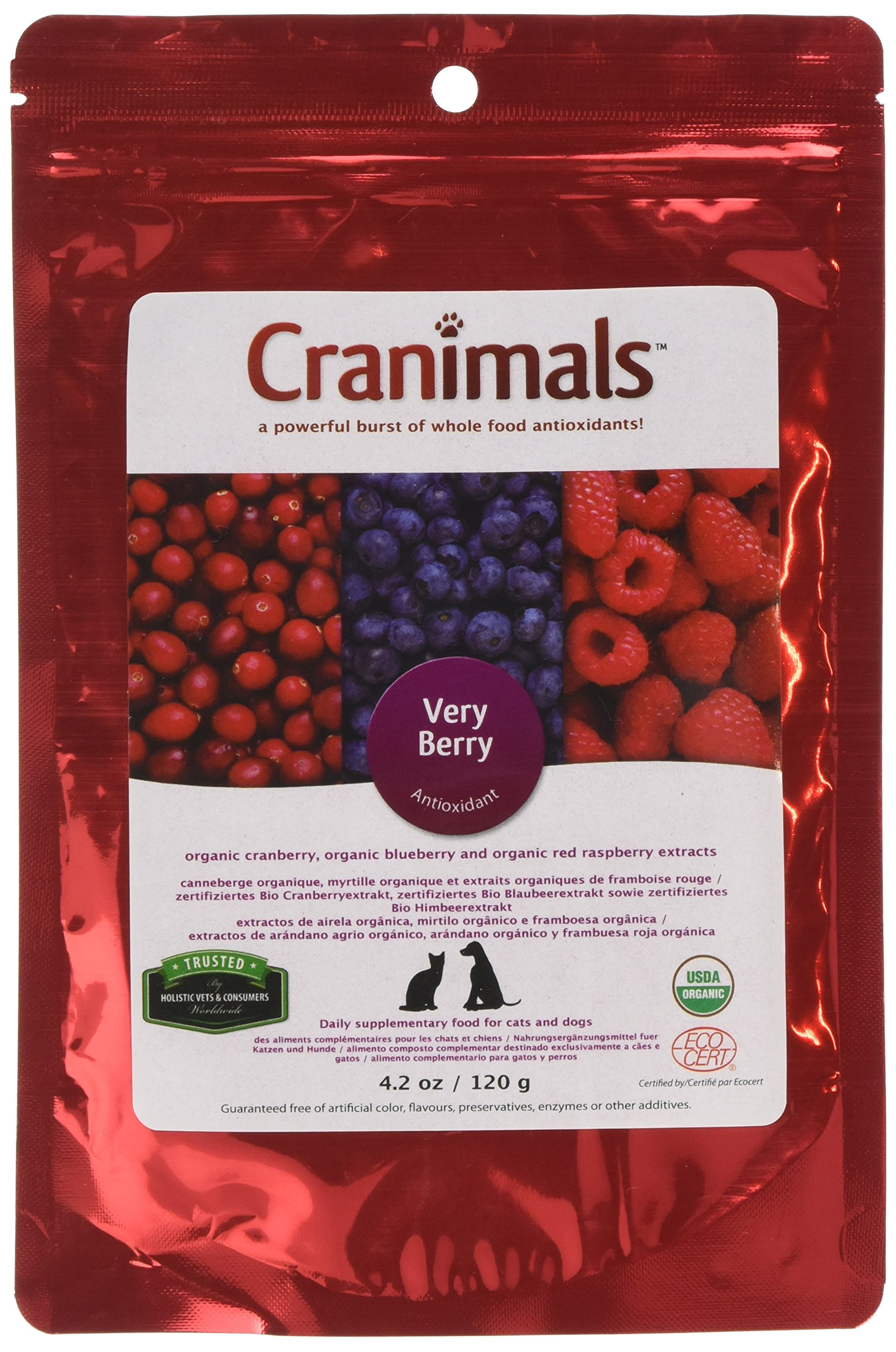 Cranimals Very Berry Organic Antioxidant Pet Supplement made from three of the world's healthiest berries. by Cranimals