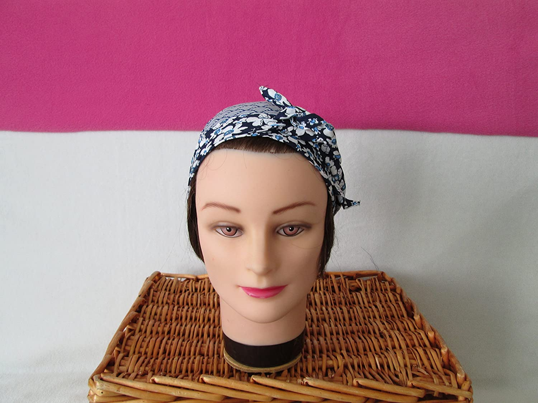 Foulard, turban chimio, bandeau pirate au féminin bleu marine et blanc