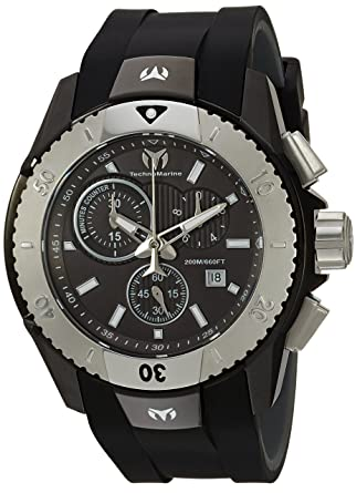Technomarine Mens UF6 Stainless Steel Quartz Watch with Silicone Strap, Black, 0.95 (Model