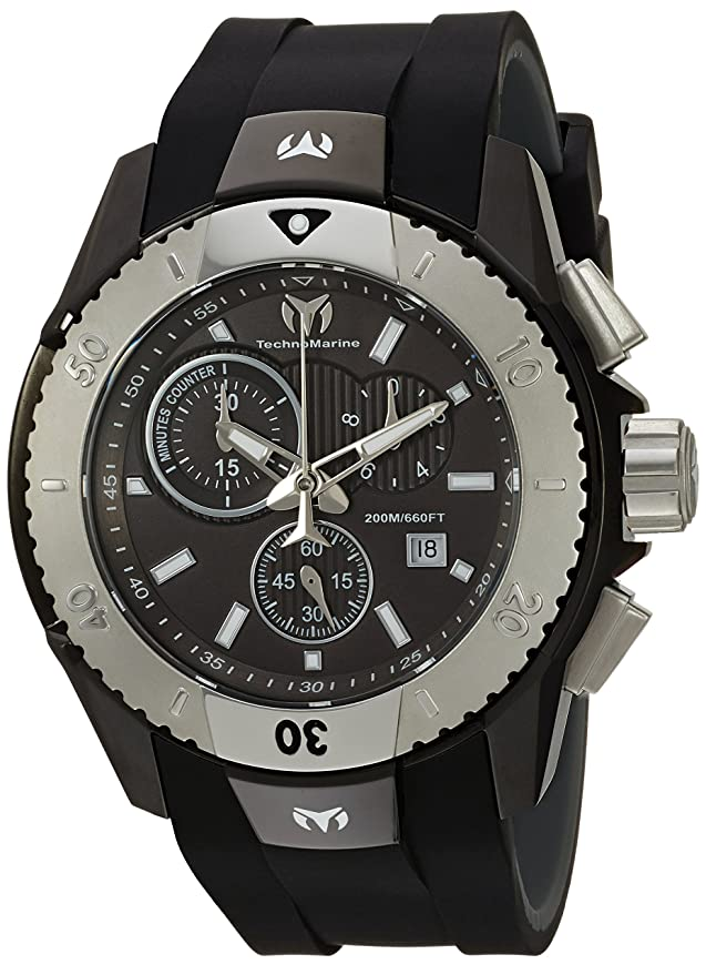 Amazon.com: Technomarine Mens UF6 Quartz Stainless Steel and Silicone Casual Watch, Color:Black (Model: TM-616003): Watches