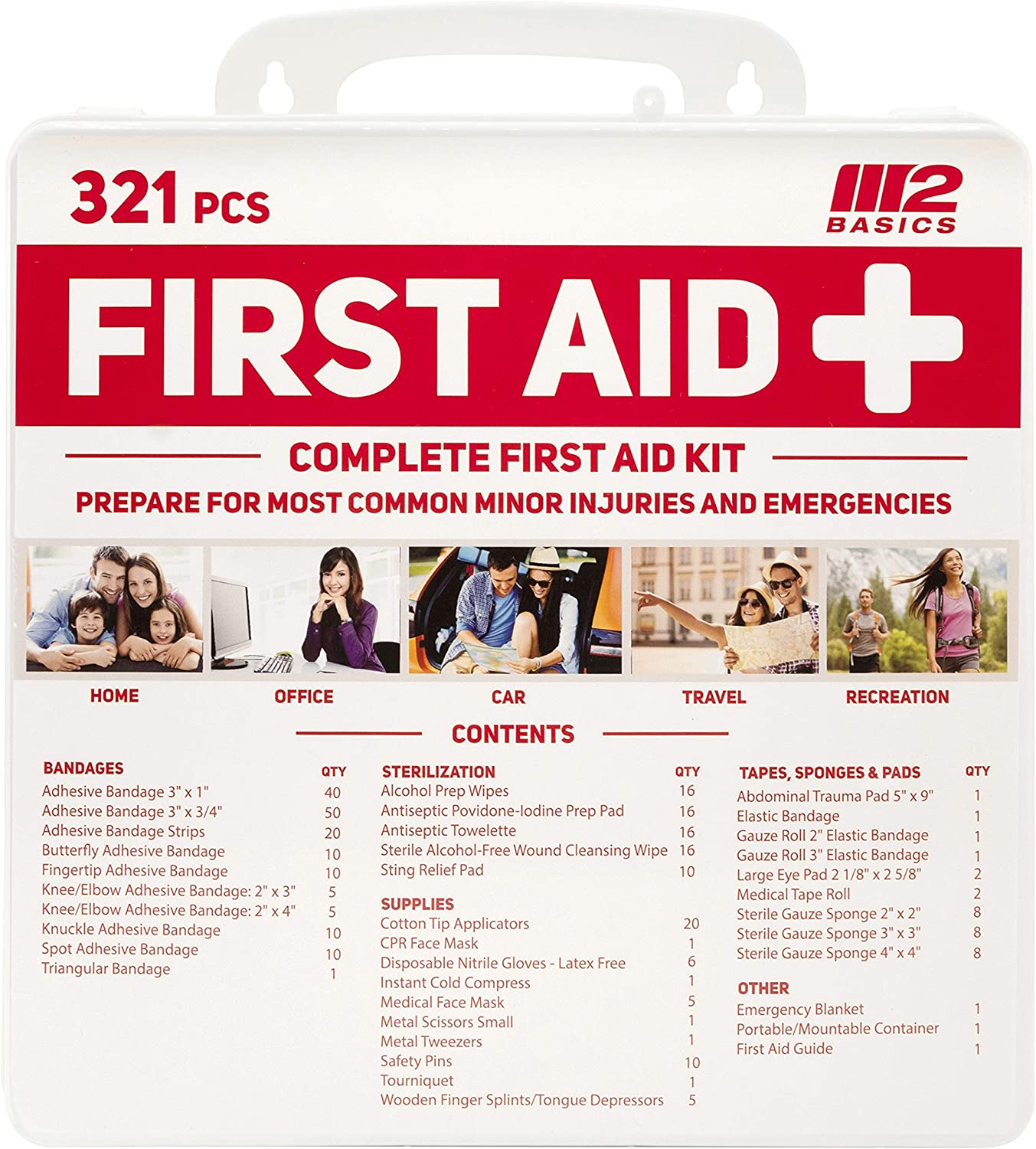 M2 BASICS 321 Piece Emergency Survival First Aid Kit | Medical Supply | Home, Office, Outdoors, Car, Camping, Travel : Sports & Outdoors