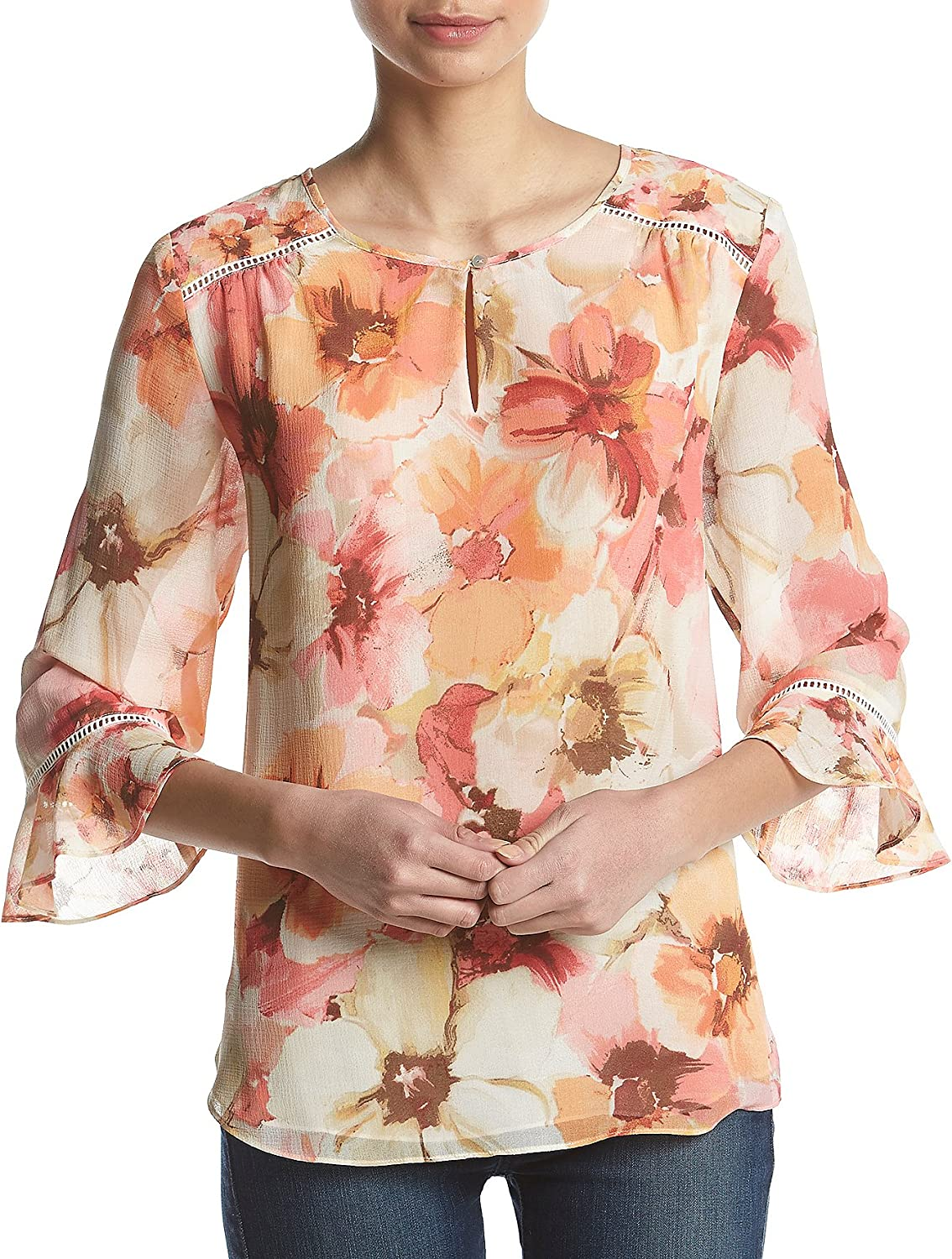 Alfred Dunner Womens Petite Floral Tunic