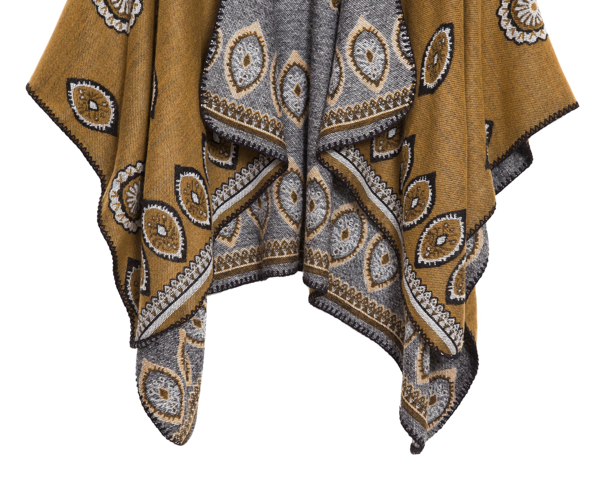 Women's Vintage Pattern Open Front Poncho Cape Shawl (Series 3-Yellow) by Urban CoCo (Image #5)