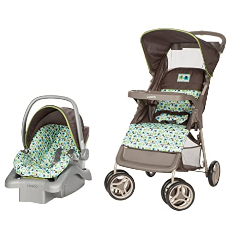 Cosco Lift Stroll Travel System – Car Seat and Stroller Suitable for Children Between 4 and 22 Pounds, Elephant Squares