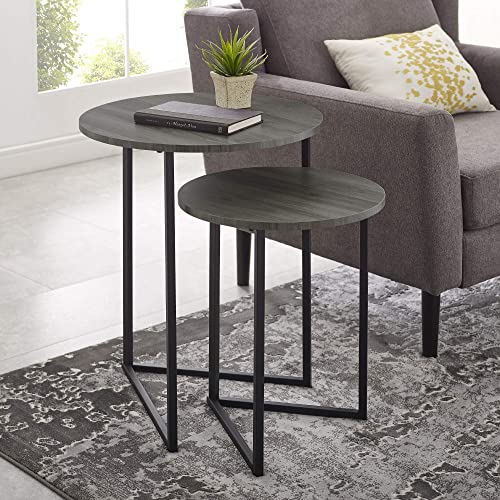 Walker Edison Furniture Company Modern Round Metal Base Nesting Set Side Accent Living Room Storage Small End Table, Set of 2, Slate Grey