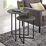 Walker Edison Furniture Company Modern Round Metal Base Nesting Set Side Accent Living Room Storage Small End Table, Set of 2
