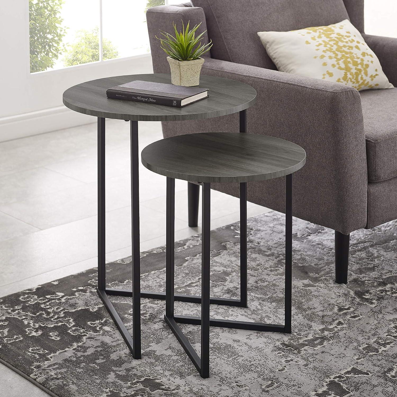 WE Furniture AZFVICNSTSG Side Table, Slate Grey