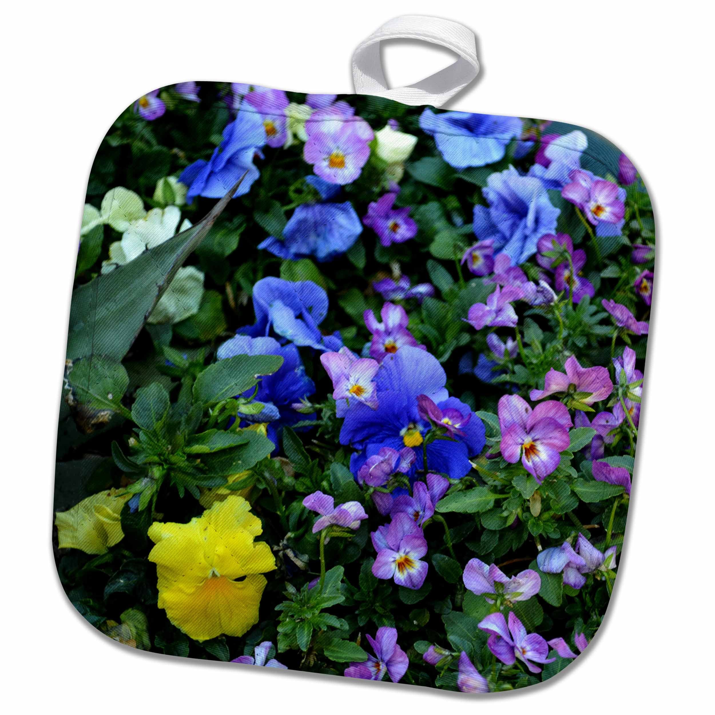 3D Rose a Wall of Purple Pansies Pot Holder, 8'' x 8''