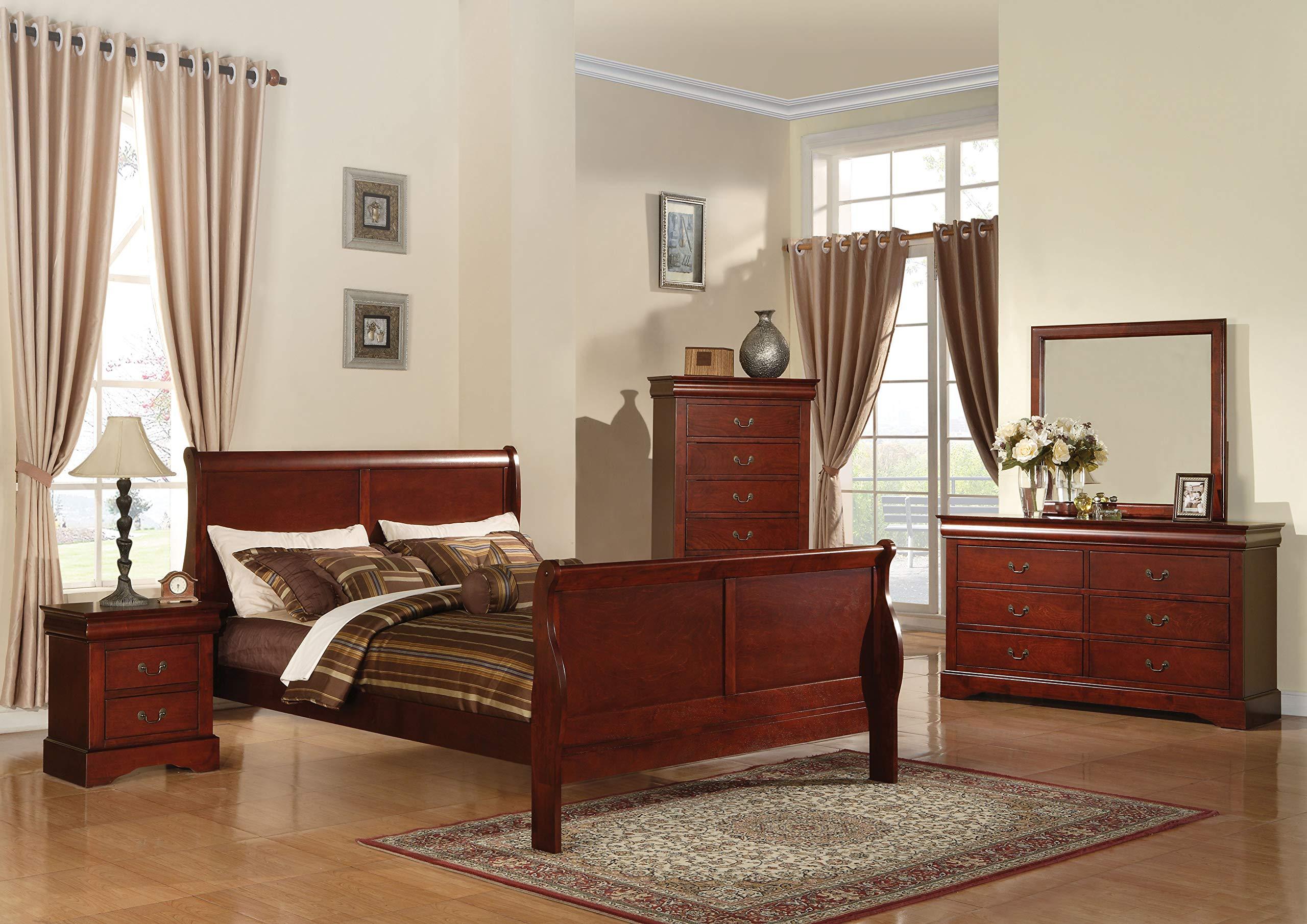 acme 19514CK Louis Philippe III California King Bed, Cherry Finish