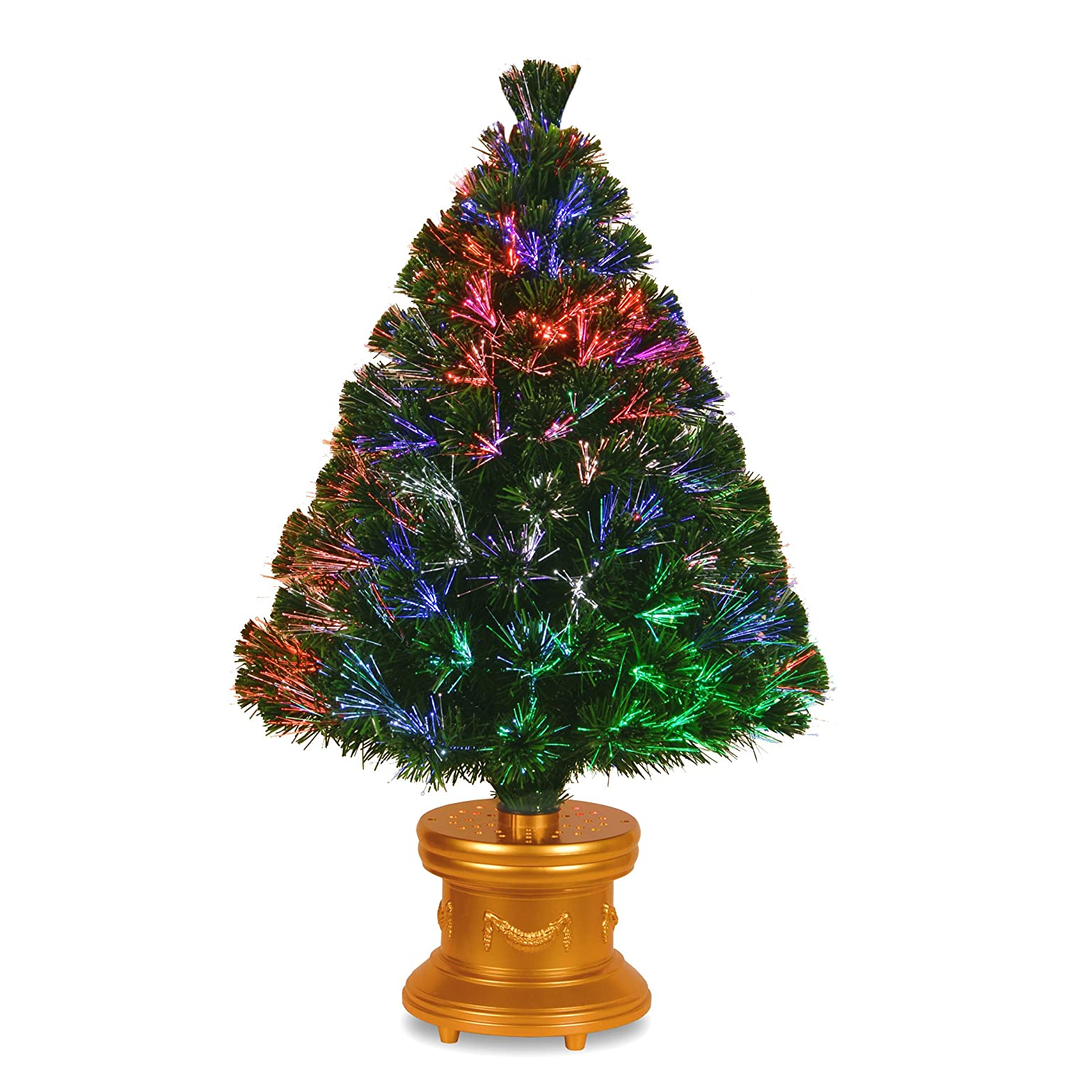 National Tree 36 Inch Fiber Optic Evergreen Firework Tree with Gold Column Base (SZEX7-100L-36-1)