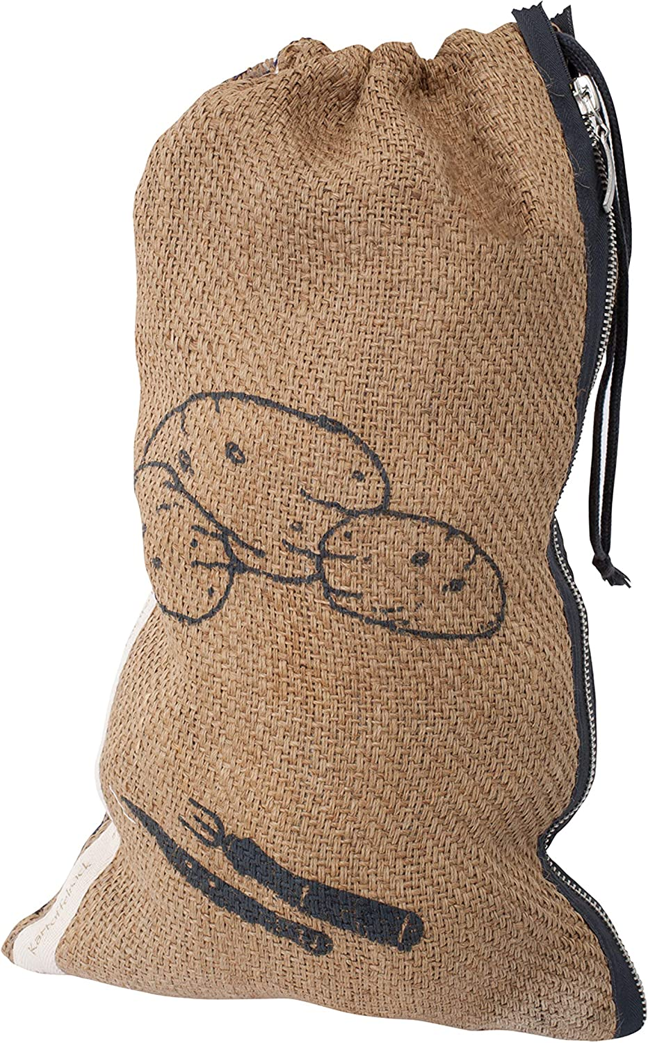 Redecker Potato Bag, Reusable Burlap and Cotton Produce Sack with Drawstring Closure, Keeps Food Fresh, 12 x 20 inches