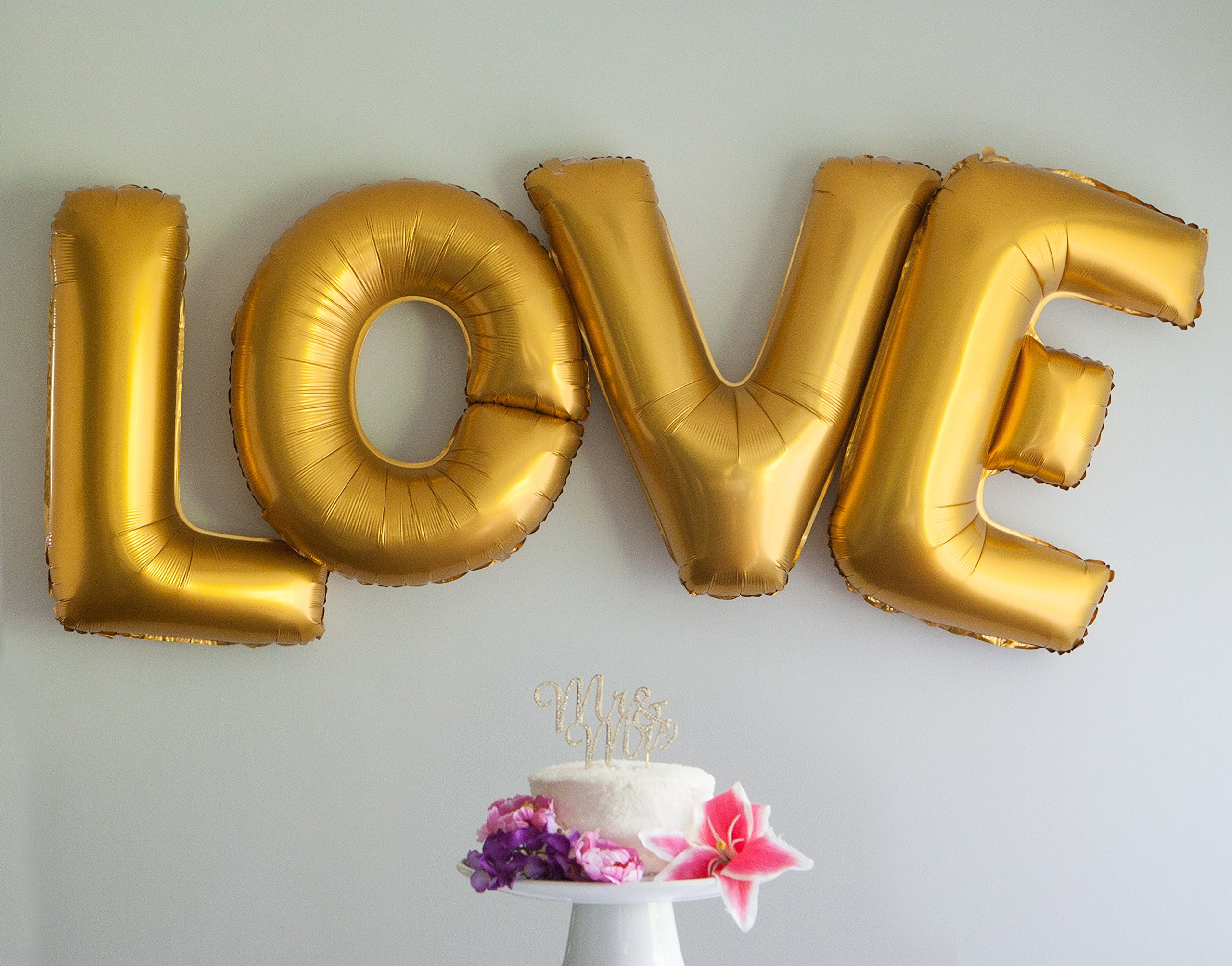 Ella Celebration Love Letters Gold Balloons 40 Inch Extra Large Letter Wedding Party Decoration (Gold)