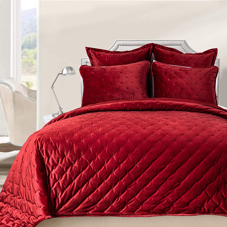 DriftAway 3 Piece Velvet Quilt Set Bedspreads Coverlets Cover Prewashed Queen Red