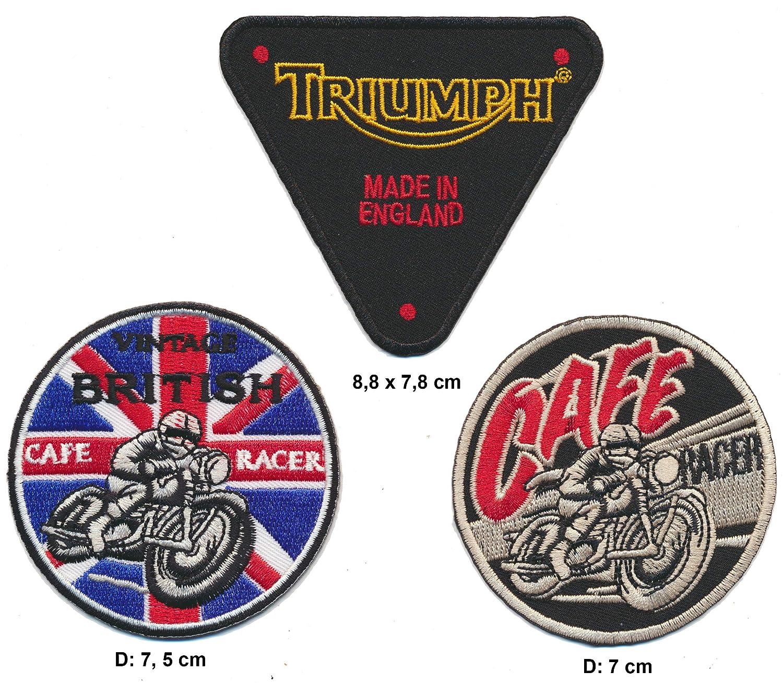 MotoMerchCompany British Cafe Racer Triumph Lot de 3 écussons de Motard à Coudre pour Moto Royal Garment