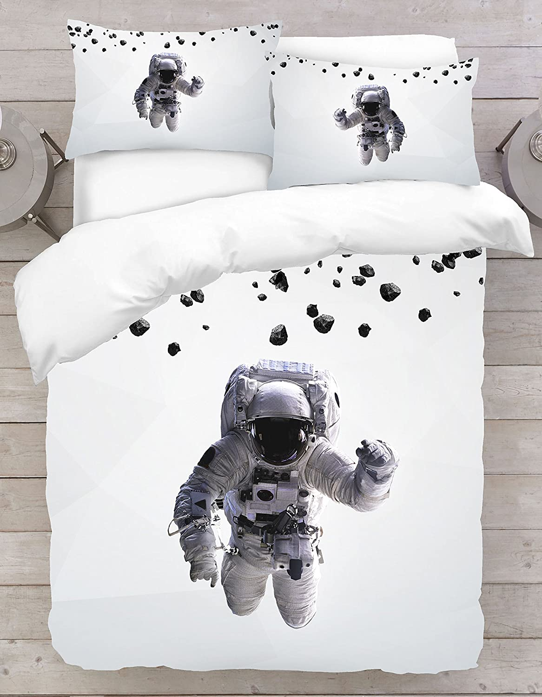 Adam Home 3D Digital Printing Bett Leinen Bettwä sche-Set Bettbezug + 1x Kissenbezug - Astronaut Theme (Alle Grö ß en)