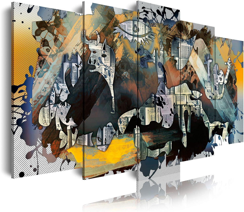 DekoArte 524 Cuadros Modernos Impresión de Imagen Artística Digitalizada, Lienzo Decorativo para Tu Salón o Dormitorio, Estilo Abstractos Arte Picasso Guernica, multi amarillos, 5 piezas (150x80x3cm)