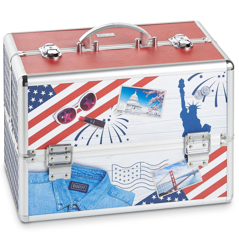 Beautify Large USA American Professional Makeup Cosmetic Organizer Train Case 14 Lockable Storage Box
