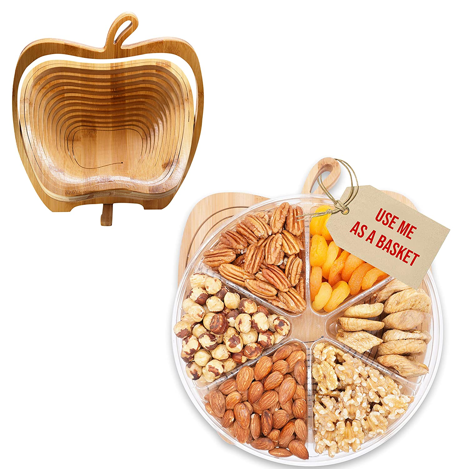 Secret Garden`s Dried Fruit and Nuts Gourmet Food Gift Baskets Turns into Basket Healthy Fresh Gift For Thanksgiving, Mothers & Fathers Day, Christmas, Birthday, Easter(6Mix)