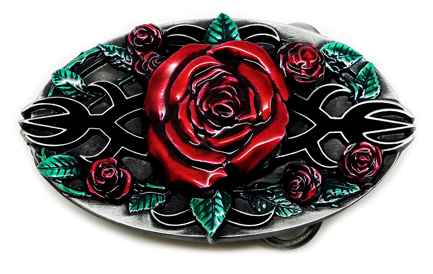 Red Roses Belt Buckle Gothic Themed Authentic Bulldog Buckle Co Branded Product TAN 386 A