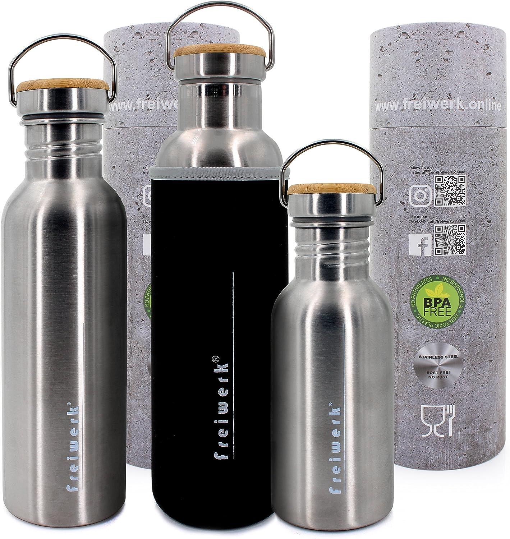 Freiwerk Retro - Botella de acero inoxidable para exteriores, con tapa de bambú, revestimiento de neopreno